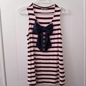 Suzy Shier EUC striped bow tank top